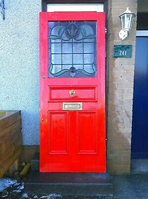 Beautiful Original Edwardian Wooden Door With Stained Glass Circa 1914