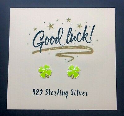 Sterling Silver 925 Lucky Green Four Leaf Clover Stud Earrings - Good Luck Card