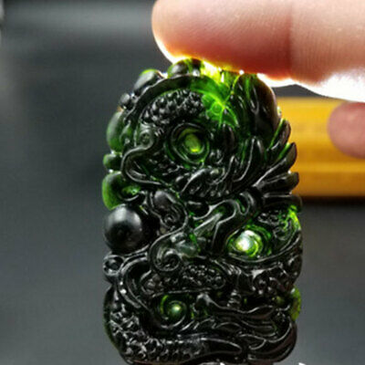 Chinese Natural Dark Green Jade Hand Carved Dragon Pendant Necklace Amulet Gifts