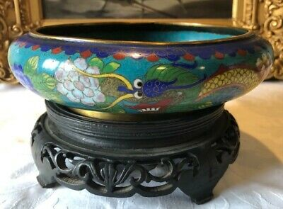 Qing Dynasty Chinese Cloisonne & Gilt On Bronze Dragon Bowl