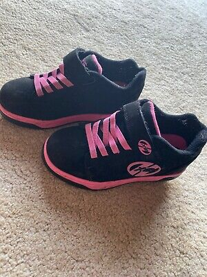 Black and Hot Pink heeleys size 2 With 2 Wheels