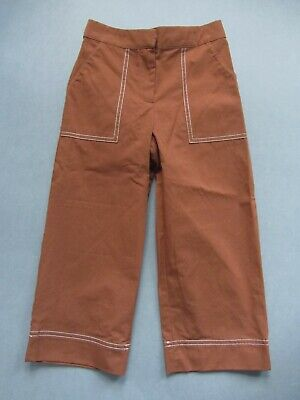 New Zara Girls tan brown wide leg cotton trousers stitch detail zip front age 7