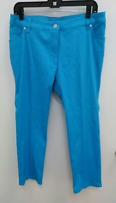 Peter Nygard Womens Sz 20 Pants Jeans Teal Casual Cotton Stretch B289
