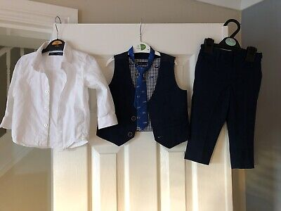 Next Baby Boys Navy Suit Outfit Shirt Waistcoat  Trousers 9-12 Months