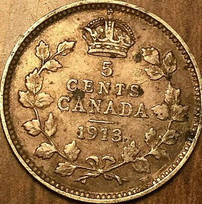 1913 Canada Silver 5 Cents Coin