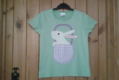 Girls Mini Boden Green Bunny Rabbit T Shirt Top Age 7-8 Years EX COND!!