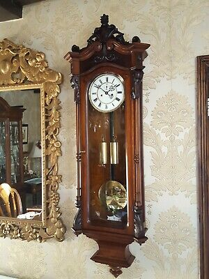 Antique 2 weight Vienna regulator wall Clock by Gustav Becker