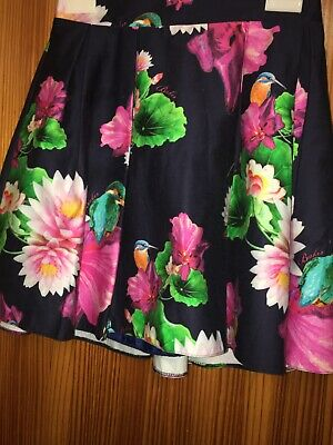 Ted Baker Girls Navy Blue Pinks Floral Age 13 SKater Skirt