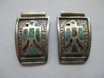 Fine Old Navajo Men's Cast Sterling Silver and Turquoise Thunderbird Watch Tips