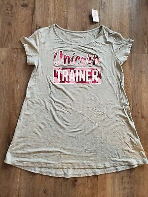 NWT Justice For Girls Shirt Size 14/16 gray pink camo unicorn trainer NEW