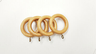 2 Wooden Curtain Rings for 25-35mm Poles Latte Cream Sea Shore Hook Pole Rings