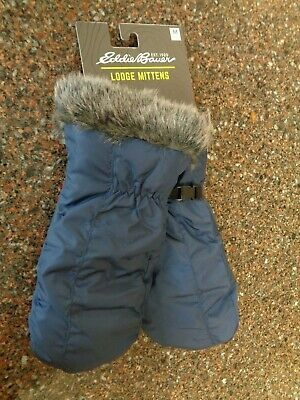Eddie Bauer Women Lodge Down Mittens Dusted Indigo (Blue) Medium Water Repel NWT