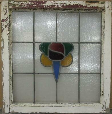 "OLD ENGLISH LEADED STAINED GLASS WINDOW Colorful Abstract Design 21.75"" x 22.25"""
