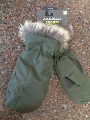 Eddie Bauer Women Lodge Down Mittens Dark Loden (Green) Medium Water Repel NWT