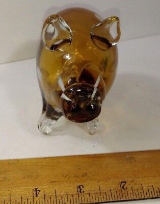 Hand Blown Attractive Amber With Internal White Spots Glass Pig Figurine