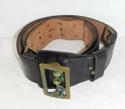 Sam Browne Black Leather Police Military Style Belt  44 inch