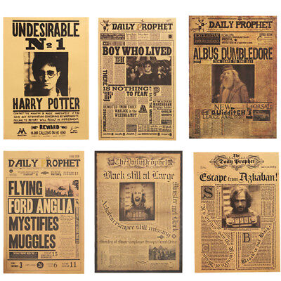2020 Harry Potter Poster Kraft Paper Bar Wall Daily Prophet Decorative Paintings