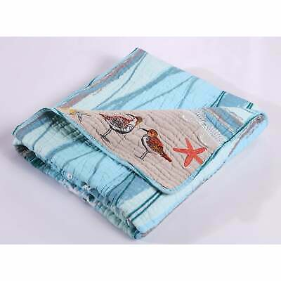Greenland Home Fashions  Maui Embroidered Cotton Throw Sky Blue Throw