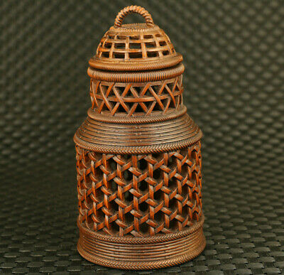 unique Chinese boxwood Handcarved Cricket cans pot statue netsuke collectable