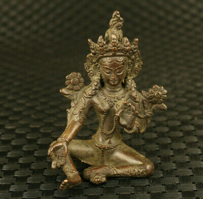 blessing Chinese old red copper hand carved Green Tara Buddha statue decoration