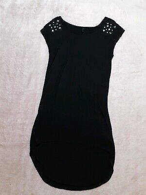 💕Benetton Small Short Black Casual T- Shirt Dress with Square Studs~ Excellent❤