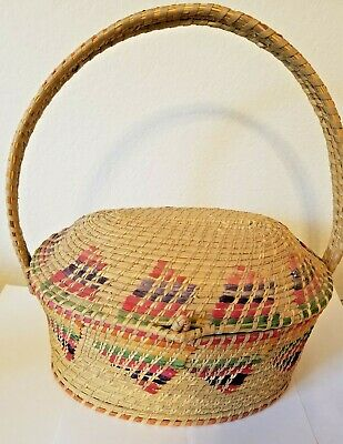 Vintage Mexican Colorful Coiled Covered Basket / Purse - Domed Lid