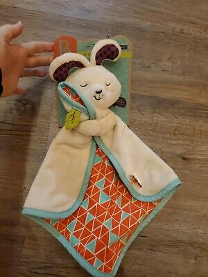 B.Toys Battat Snugglies Bunny Rabbit Teal Coral  Security Blanket Baby Lovey NEW
