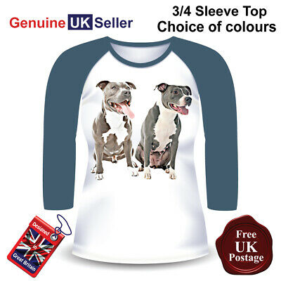 Velocitee Ladies Long Sleeve T-Shirt Staffordshire Bull Terrier Staffie SBT V175