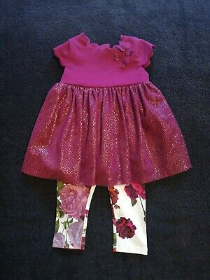 Girls Ted Baker Dress And Leggings Outfit 9-12 Months