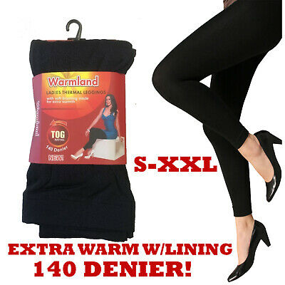 Womens Winter Thermal Soft Lining Black Warm Thick Full Length Leggings S-Xxl