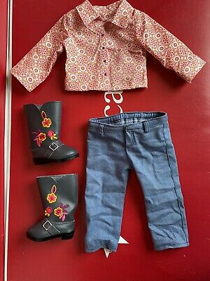 American Girl Saige Parade Outfit Western Shirt Denim Jeans Cowgirl Boots