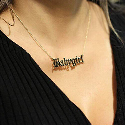 Creative Cute Babygirl Old English Necklace Pendants Lovely Gift Daughter/