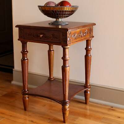 International Caravan Windsor Hand-carved 2-tier Table with Brown