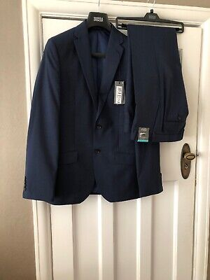 """Bnwt M&S Tailored Fit Boys/mens Navy Suit 38""""long Jacket/trousers 34""""W 31"""" L"""