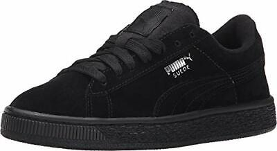 Kids Puma Girls unisex-child Suede Jr Low, Black/Puma Silver,  Size Big Kid 5.5