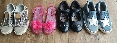 Bundle Of 4 Girls M&S Next Leather Canvas Jelly Sandals Schook Shoes Size 9-10