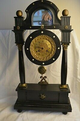 Antique French Pons Portico Pillar Column Black Ebony 8 Day Mantle Clock Mirror