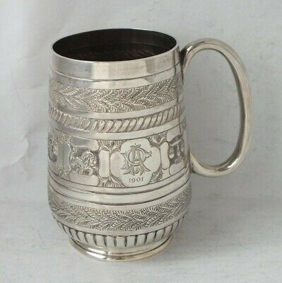 Decorative Antique Victorian Solid Sterling Silver Cup/ Mug 1888/H 9.1cm/ 119 g