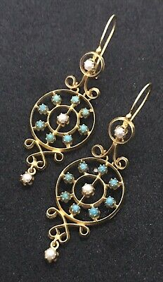Victorian Etruscan Revival 14k Solid Gold Turquoise Pearl Openwork Drop Earrings