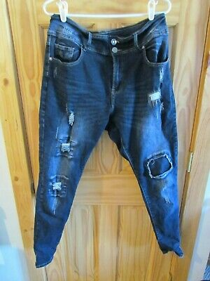 City Chic Harley Distressed Patched Skinny Jeans in Denim - Denim apple shape 14