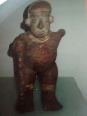 Pre-Columbian NAYARIT Mexico Pottery Standing Warrior Figure with staff or club