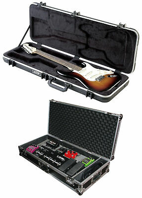 "SKB 1SKB-66 Electric Hard-Shell Guitar Rectangular Case + 32"" Flight Pedal Case"