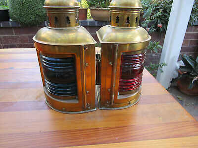 Antique PERKO Perkins brass Marine lamps ship lantern BLUE AND RED PAIR
