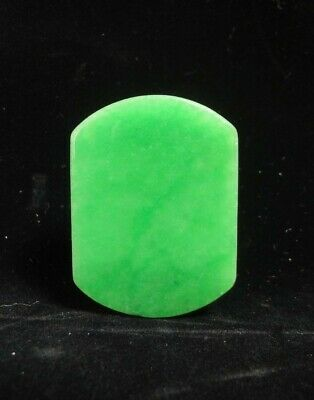 Finest Chinese Old Natural Green Jadeite Carving Emerald Belt Buckle