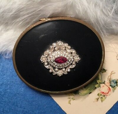 Mary Dunhill Red Czech Crystal Diamond Paste Black Enamel antique Powder Compact