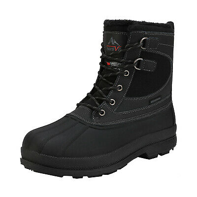 Mens Waterproof Leather Hiking Work Boots Snow Outdoor Warm Lace-Up Winter Shoes