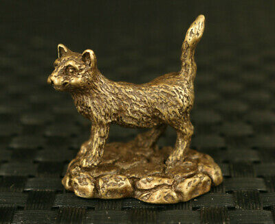 Chinese old bronze lovely good stand cat statue table tea tray decoration gift