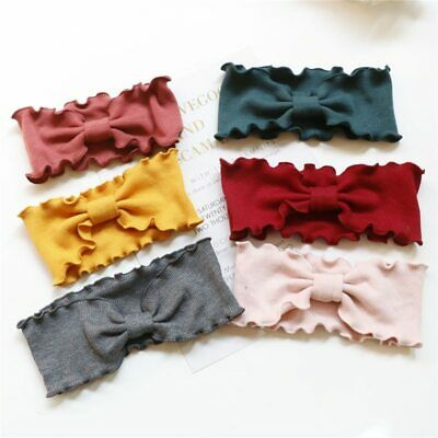 Baby Girls Headbands Wavy Wide Elastic Hair Band Accessories Knitted Bow Turban