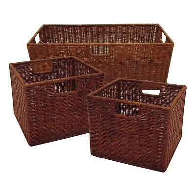 Leo Set of 3 Wired Baskets, 1 Large and 2 Small Brown