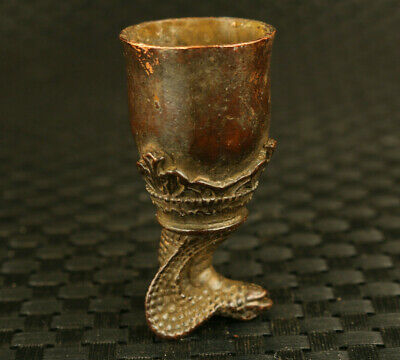 Asian old bronze hand carving snake head statue art collectible wine glass cup